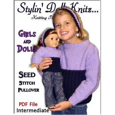 Matching Girl and Doll sweaters. American Girl Doll. AG