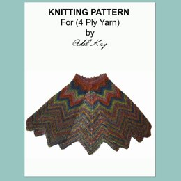 Darcy Vintage Style Chevron Cape Shrug Shawl 4ply Sock Yarn by Adel Kay