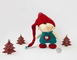 Christmas gnome doll knitting flat