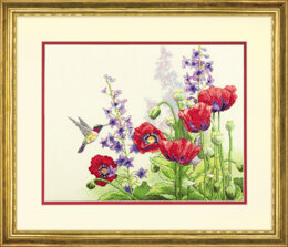 Dimensions Hummingbird & Poppies Cross Stitch Kit - 35.5cm x 28cm