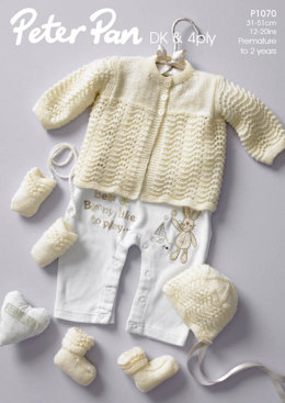 Matinee Coat, Bonnet, Mitts & Bootee Set in Peter Pan DK and 4 Ply - 1070