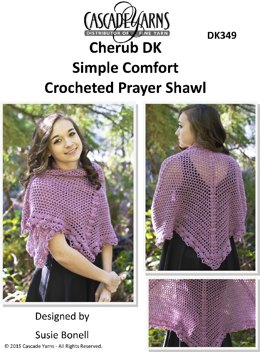 Simple Comfort Crocheted Prayer Shawl in Cascade Cherub DK - DK349