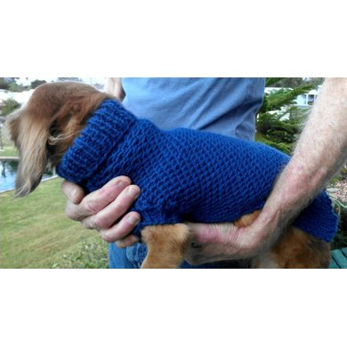 Ripple Stitch Miniature Dachshund Sweater Knitting Pattern By Lenas