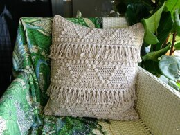 Crochet Cushion Cover Boho Zig Zag