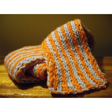 Doubleweave Striped Scarf wtih Chain Edging