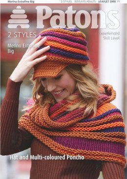 Multi-coloured Poncho and Hat in Patons Merino Ext