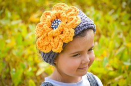 Chunky Ribbed Earwarmer Headband with Rose