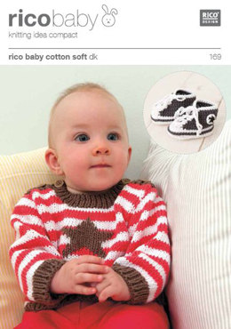 Striped Jumper and Embroidered Star and Bootees in Rico Baby Cotton Soft DK - 169