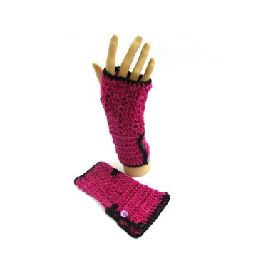 Button Cuff Fingerless Mitts