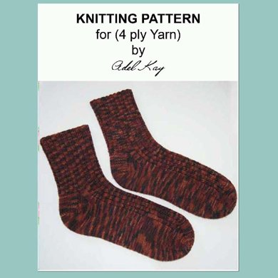 Ailene Ladies 4ply Sock Yarn Ankle or Long Length Ribbed Socks Worked Circularly Top Cuff Down on dpn Double Pointed Needles in One Piece in the Round by Adel Kay
