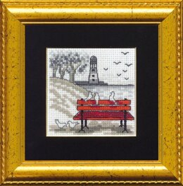 Permin Red Bench Cross Stitch Kit - 7cm x 7cm