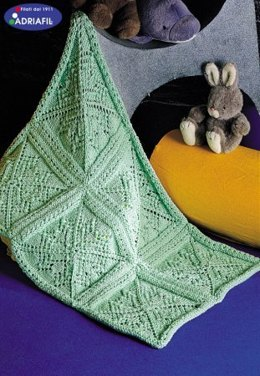 Blanket with Squares and Green Pattern in Adriafil New Zealand - Downloadable PDF