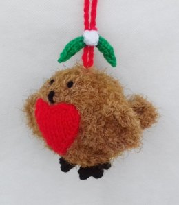 Romantic Robin Kissing Bauble