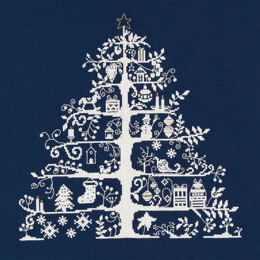 DMC Christmas Tree Blue Cross Stitch Kit - 30cm x 30cm