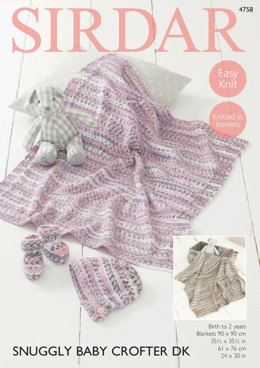 Bonnet, Bootees and Blankets in Sirdar Snuggly Baby Crofter DK - 4758 - Downloadable PDF
