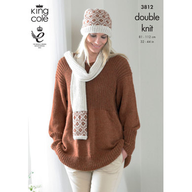 Smock, Cardigan, Hat and Scarf In King Cole DK - 3812