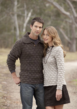 Textured Jumpers For Her and For Him in Patons Wool Blend Aran - 3740