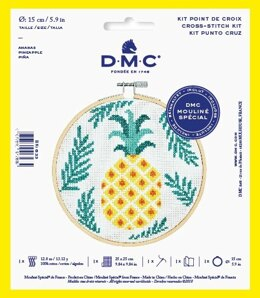 "DMC Pineapple (with 6"" hoop) Cross Stitch Kit - 25cm x 25cm"