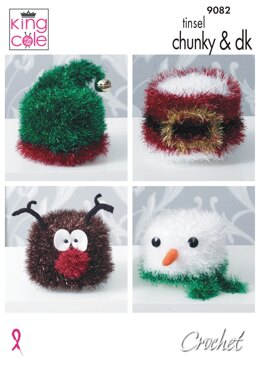 Crochet Christmas Toilet Roll Covers in King Cole Tinsel Chunky & Dollymix DK - 9082