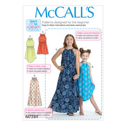 McCall's Children's/Girls' Gathered Neckline Sleeveless Dresses M7589 - Sewing Pattern