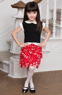 Girl's Ruffled Party Dress in Red Heart Anne Geddes Baby and Boutique Sashay - LW4152