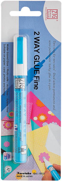 Zig 2-Way Glue Pen Carded - Fine Tip