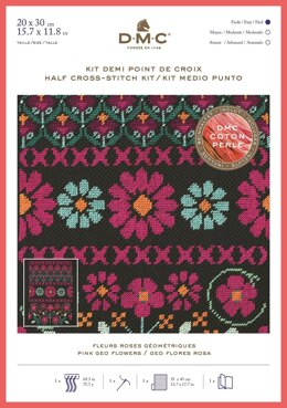 DMC Pink Geo Flowers (Coton Perlé half cross stitch) Cross Stitch Kit - 30cm x 20cm - BK1785