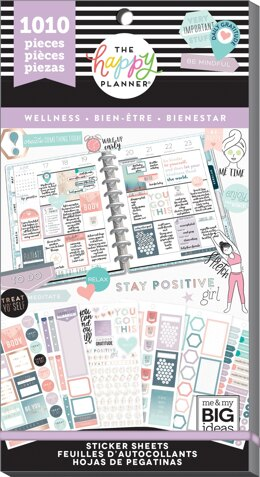 Me & My Big Ideas Happy Planner Sticker Value Pack - Wellness, 1010/Pkg