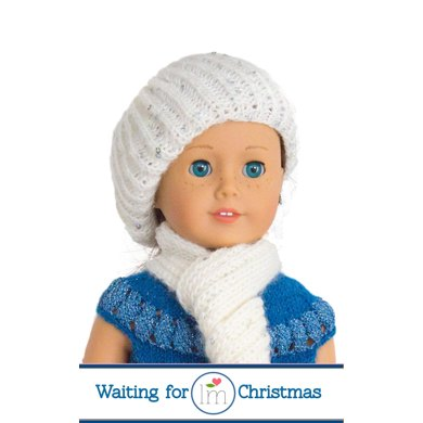 Hat and Scarf for 18 inch Doll, Doll Clothes Knitting Pattern, Doll Accessories