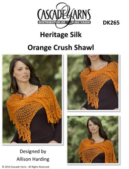 Orange Crush Shawl in Cascade Heritage Silk - DK265