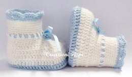 Ribbon blue baby booties