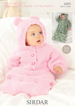 All In One and Sleeping Bag Nightwears in Sirdar Snuggly Snowflake Chunky - 4465 - Downloadable PDF
