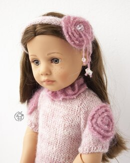 Pink rouse dress for doll 18 in