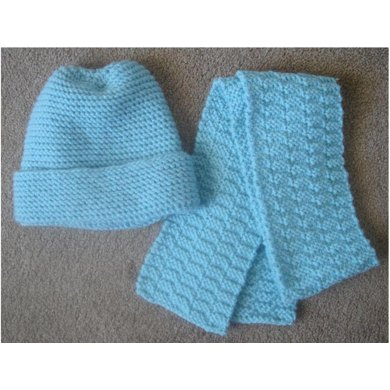 a502d621ee7 Easy Knit Hat and Scarf - Knitting ePattern Knitting pattern by Frugal ...
