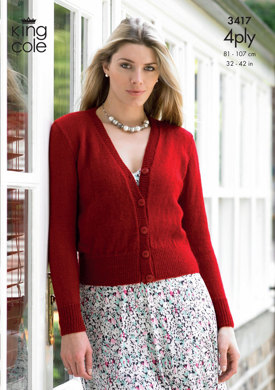 Sweater & Cardigan in King Cole 4 Ply - 3417