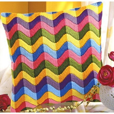 Vervaco Colourful Waves Long Stitch Cushion Front