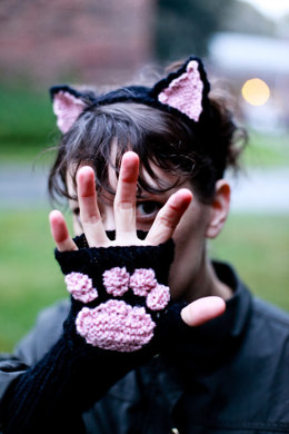 Cat Headband and Wrist Warmers in Lion Brand Vanna's Choice - L0607