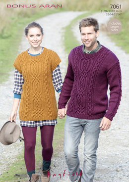 Man's Sweater and Woman's Tunic in Hayfield Bonus Aran with Wool - 7061 - Downloadable PDF