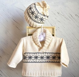 Snowflake Sweater with matching hat P035