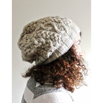 White Cabled Slouch Hat