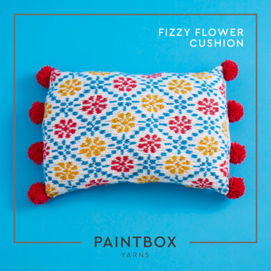 """Fizzy Flower Cushion"" - Free Cushion Knitting Pattern For Home in Paintbox Yarns Simply Chunky by Paintbox Yarns"