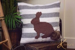 Fluffy Bunny Knit Pillow Cover
