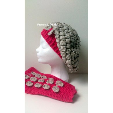 Puff Stitch Beret and Armwarmers Plussize