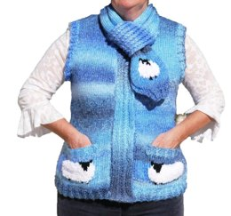 Ladies Sheep Waistcoat and Scarf