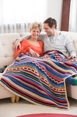 Southwestern Rainbow Throw in Red Heart Super Saver Economy Solids - LW4724 - Downloadable PDF