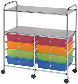 """Alvin & Company Alvin Rolling Double Storage Cart W/8 Drawers - 31.74""""X35""""X14.75"""" Multicolor"""