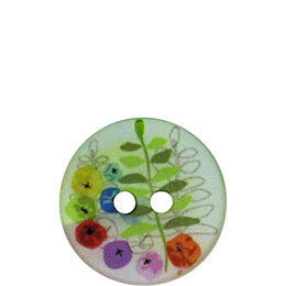 Fern and Flower Polyester 18mm 2-Hole Button
