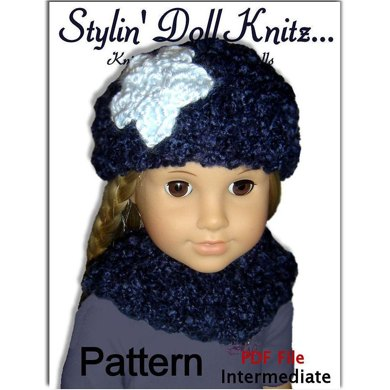 Knitting Pattern. Fits 18 inch, American Girl, Hat and Neck Warmer 102