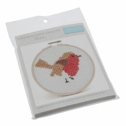 Groves Cross Stitch Kit with Hoop: Robin