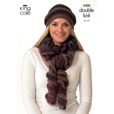 Hats and Scarves Crocheted in King Cole Riot DK - 3400